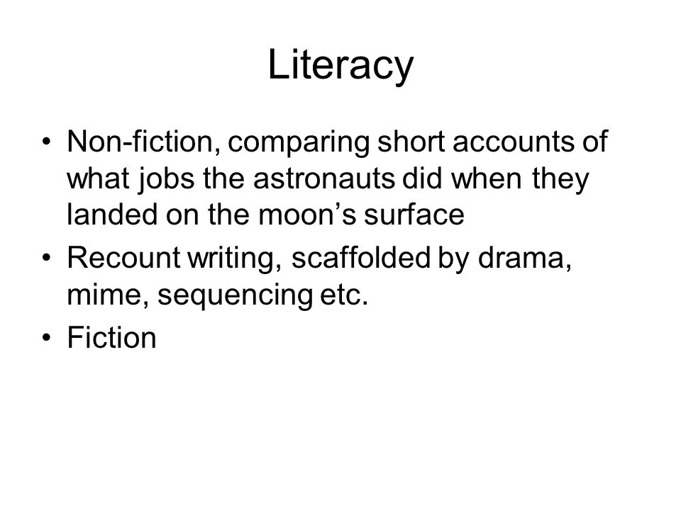 Literacy Non-fiction, comparing short accounts of what jobs the astronauts did when they landed on the moon's surface.