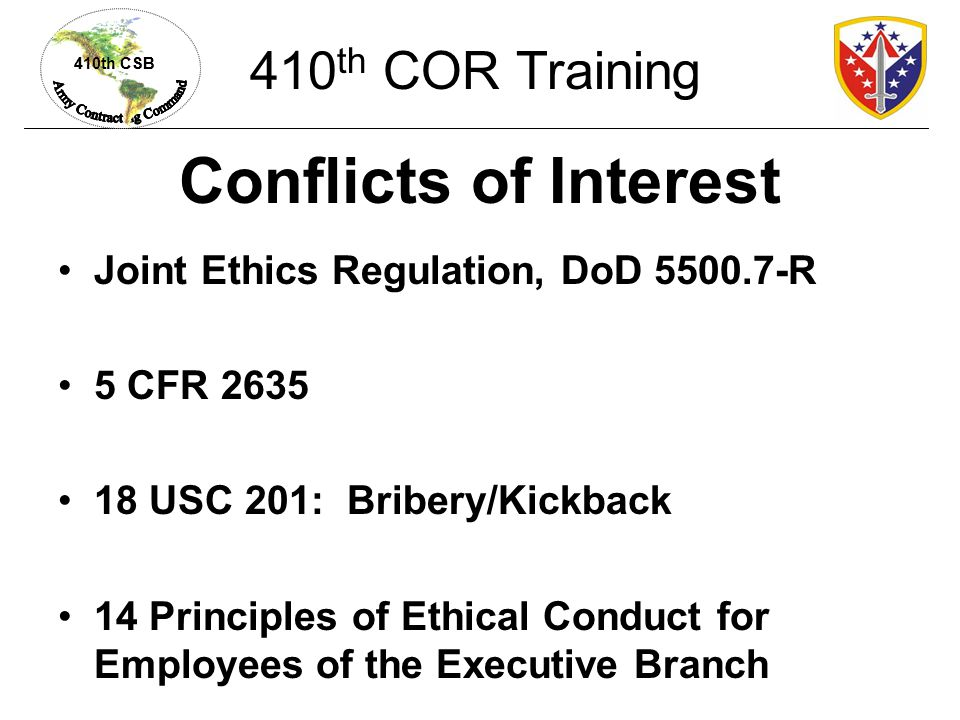 Conflicts of Interest 410th COR Training