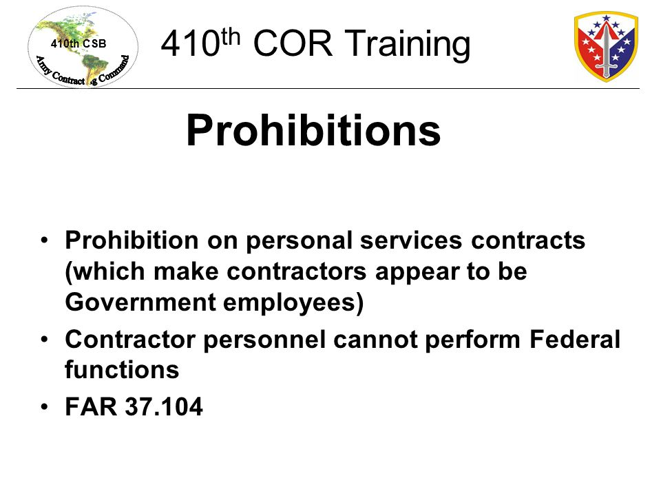 Prohibitions 410th COR Training