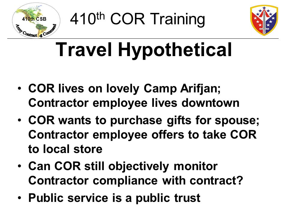 Travel Hypothetical 410th COR Training