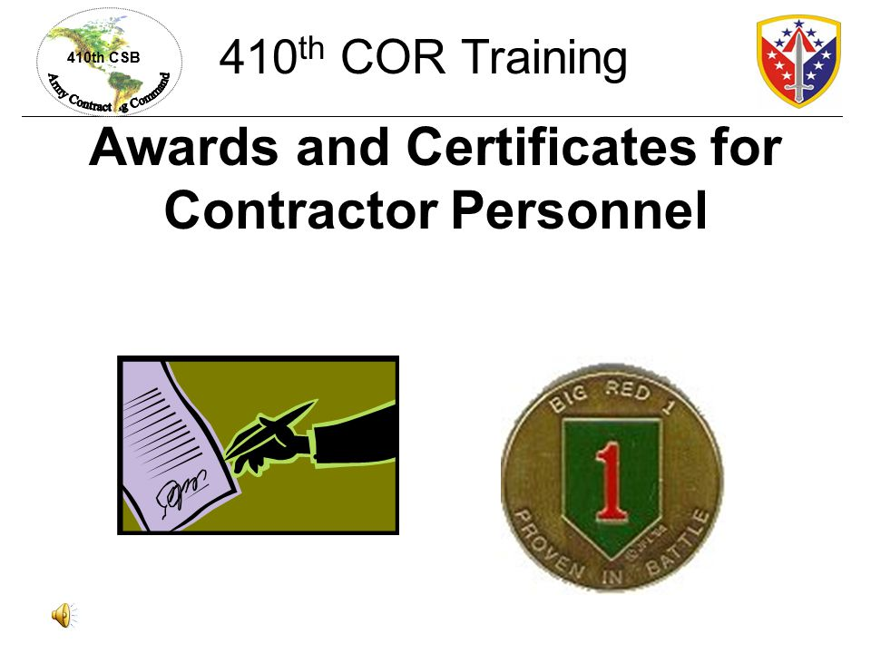 Awards and Certificates for Contractor Personnel