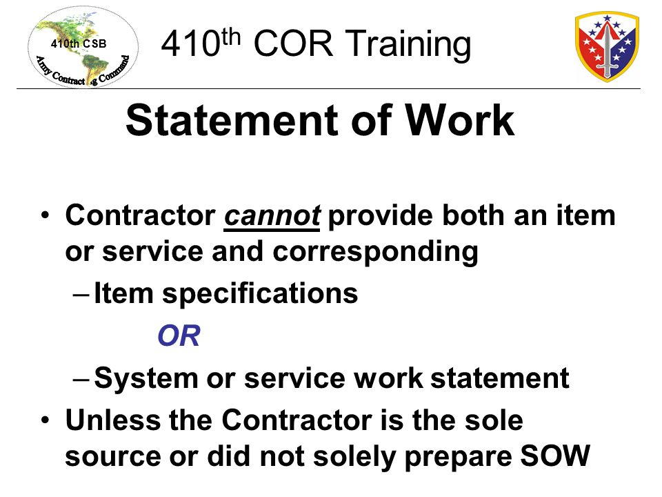 Statement of Work 410th COR Training