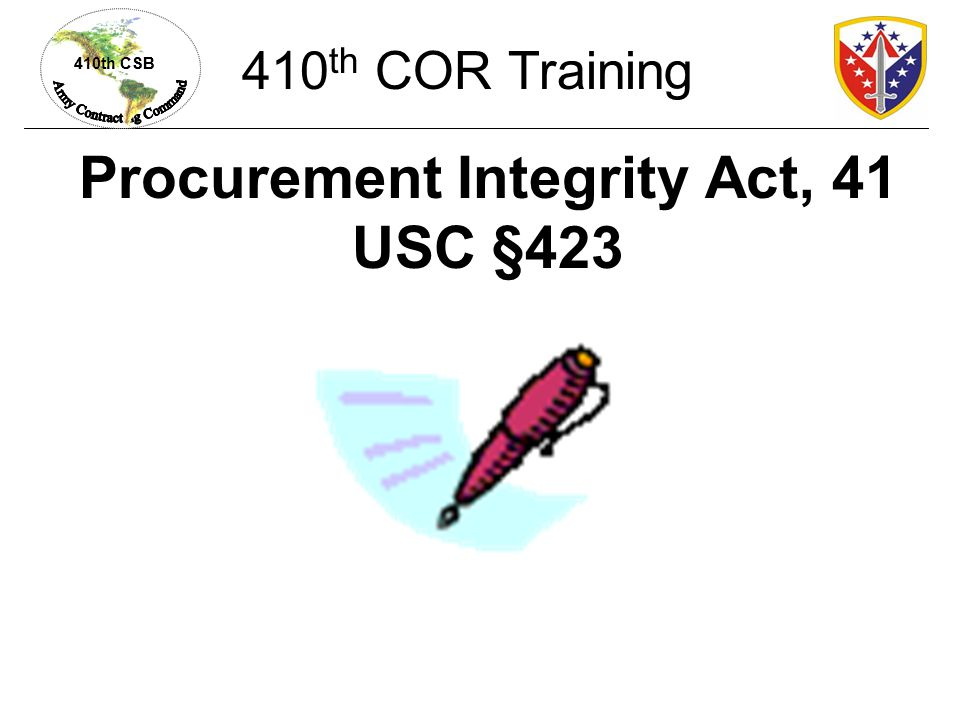 Procurement Integrity Act, 41 USC §423