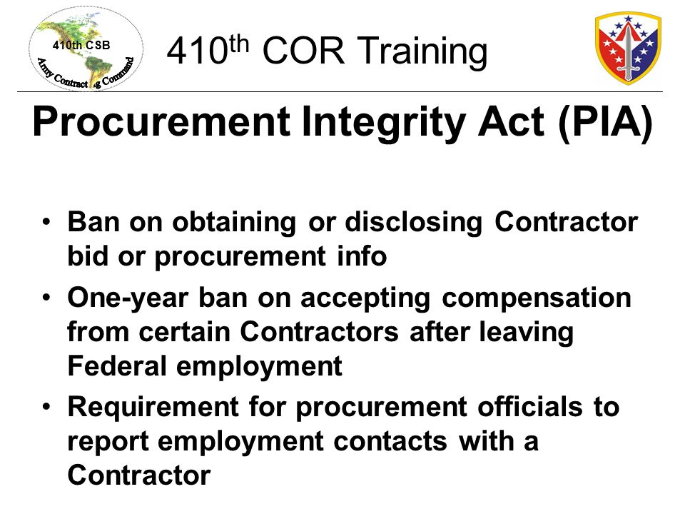 Procurement Integrity Act (PIA)