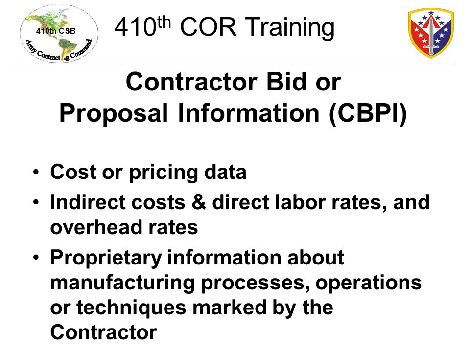 Contractor Bid or Proposal Information (CBPI)