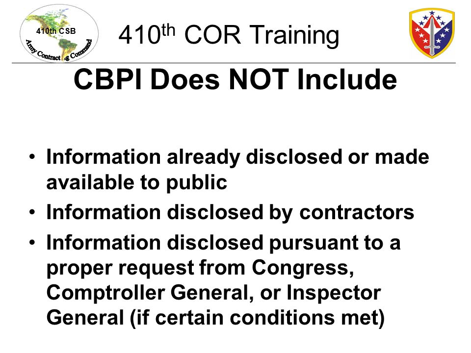CBPI Does NOT Include 410th COR Training