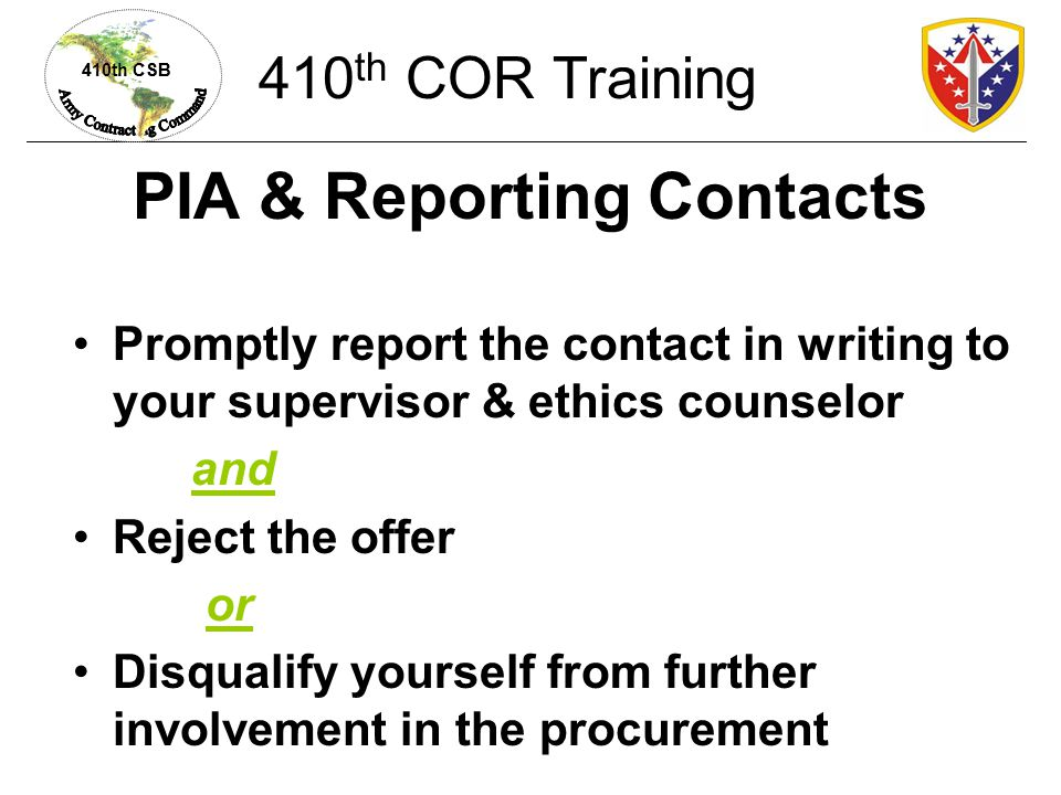 PIA & Reporting Contacts
