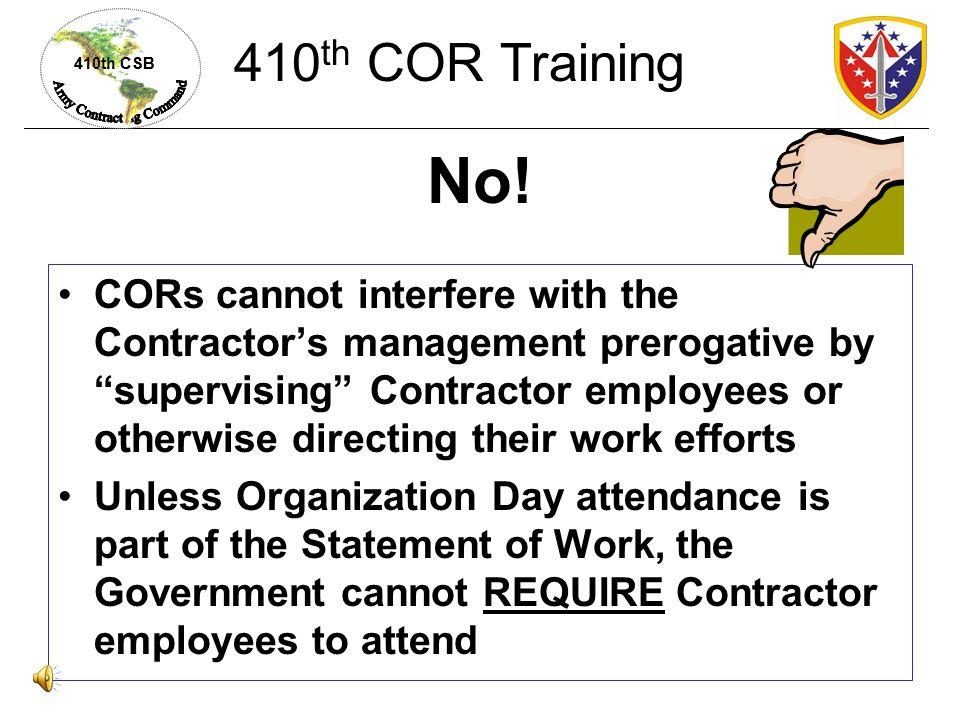 410th COR Training No!