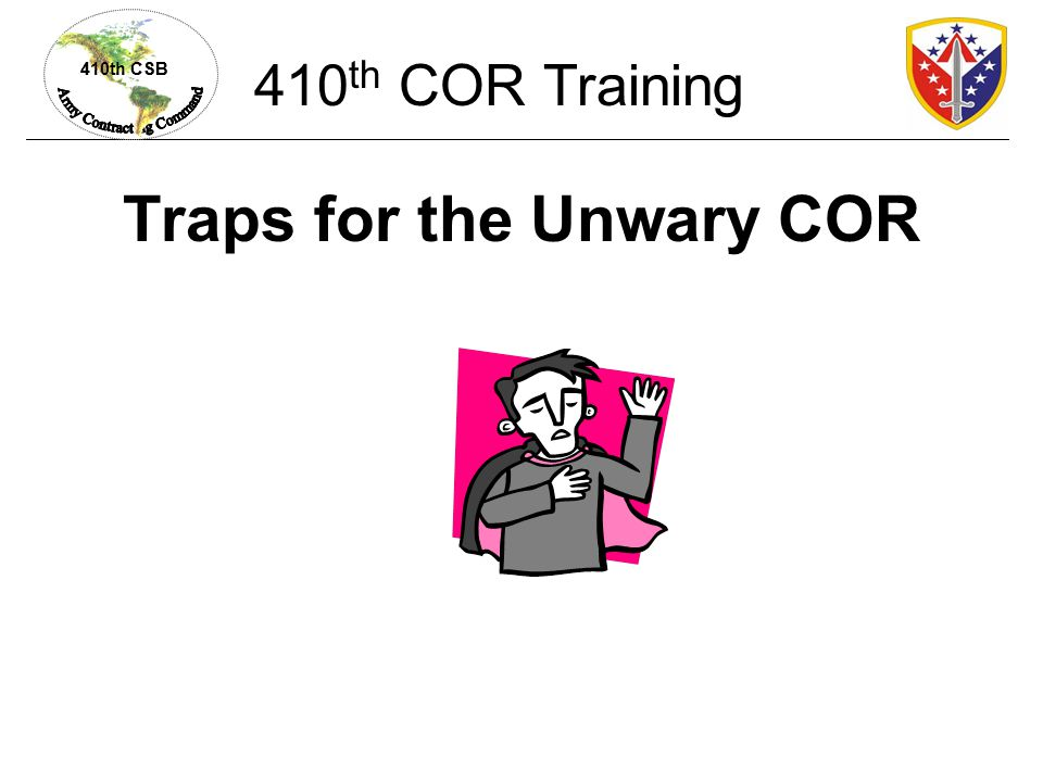 Traps for the Unwary COR