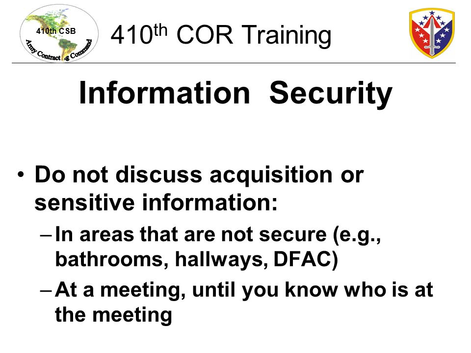 Information Security 410th COR Training
