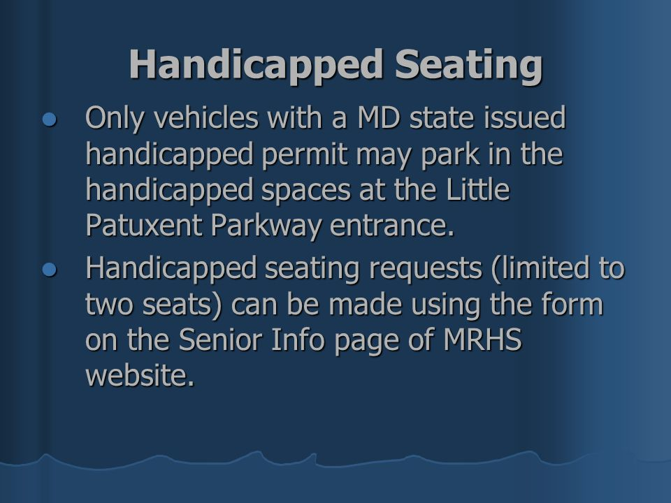 Handicapped Seating