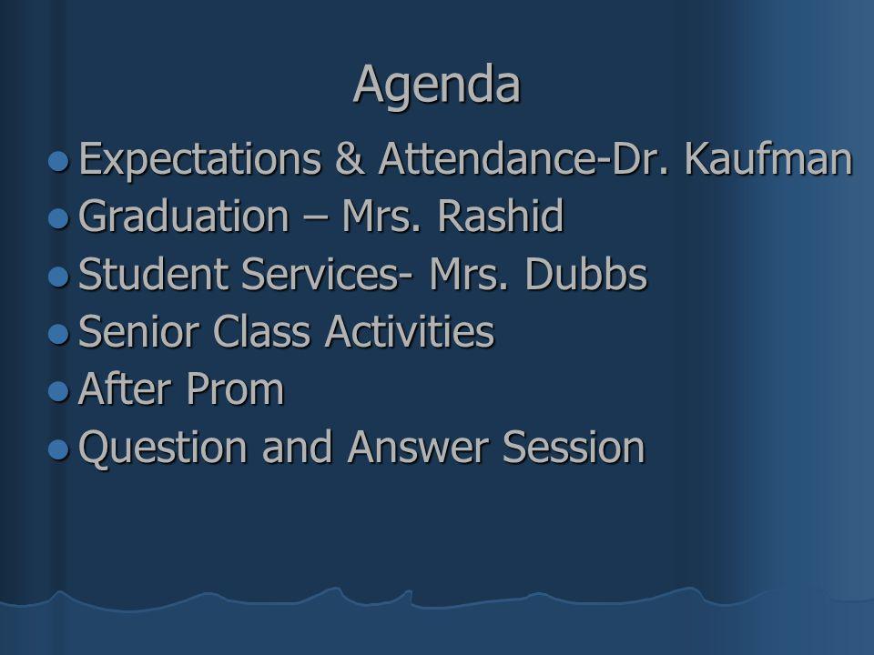 Agenda Expectations & Attendance-Dr. Kaufman Graduation – Mrs. Rashid