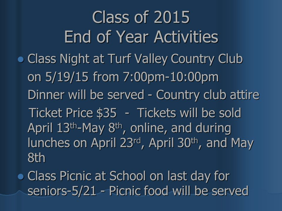 Class of 2015 End of Year Activities