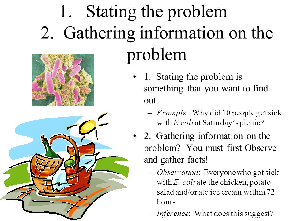 Stating the problem 2. Gathering information on the problem