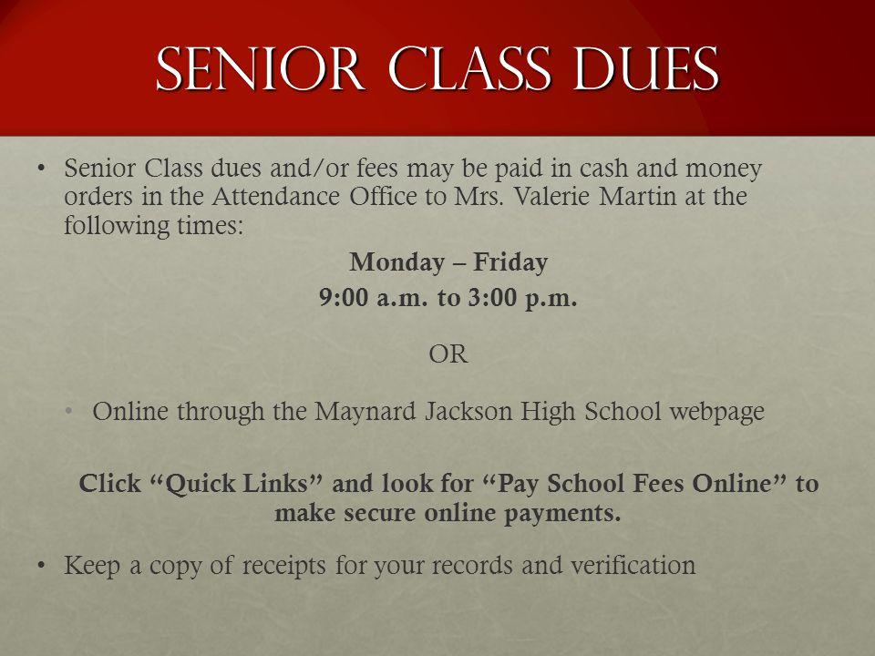 Senior Class Dues