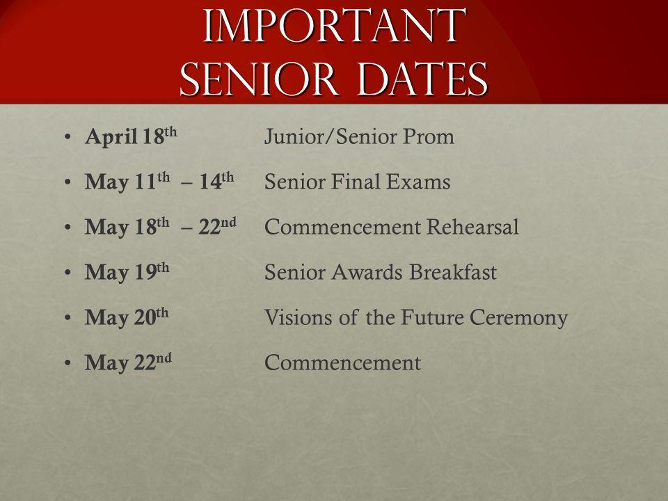 Important Senior Dates