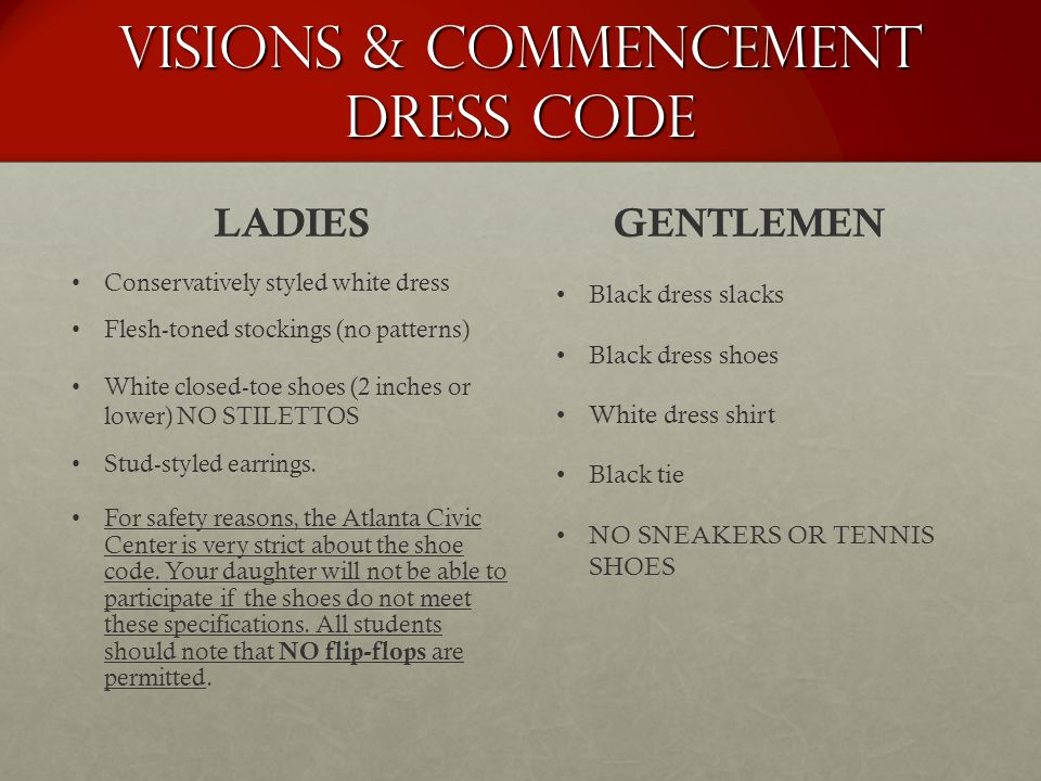 Visions & Commencement Dress Code
