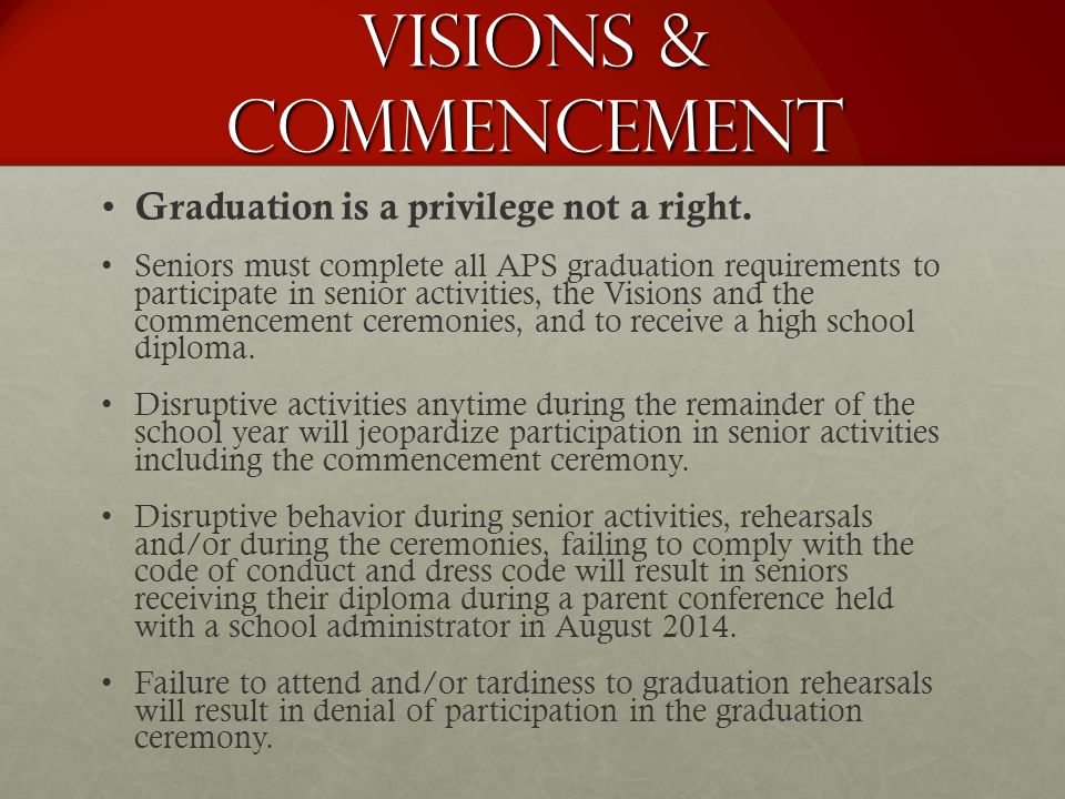 Visions & Commencement