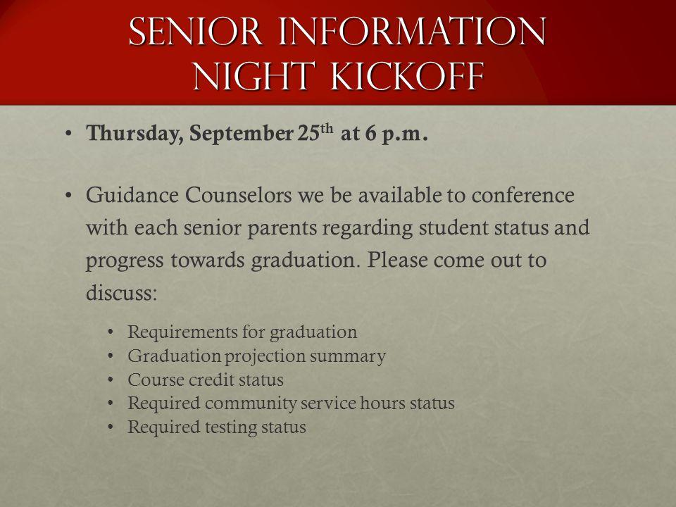 Senior Information Night Kickoff