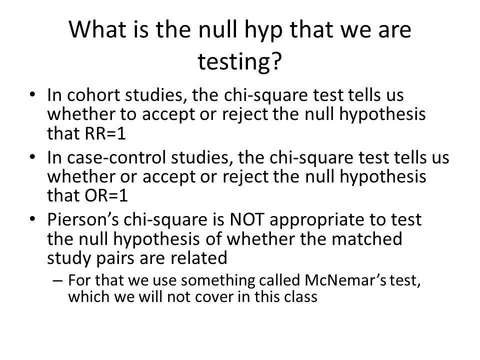 What is the null hyp that we are testing