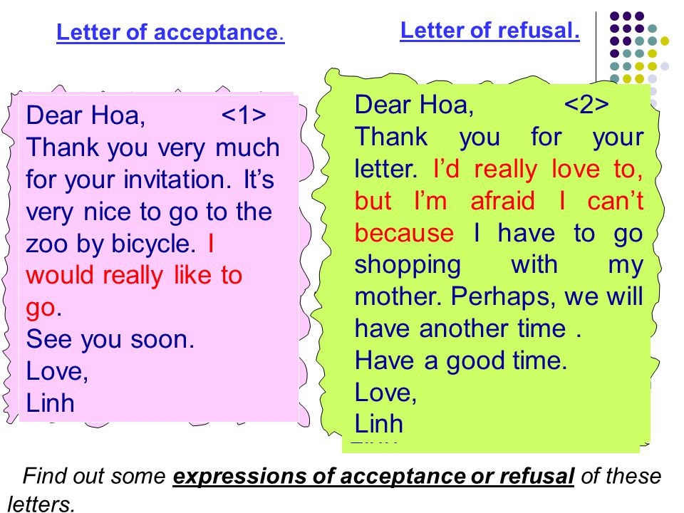 Find out some expressions of acceptance or refusal of these letters.
