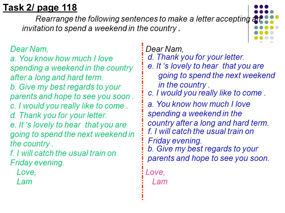 write a letter to your friend accepting the invitation
