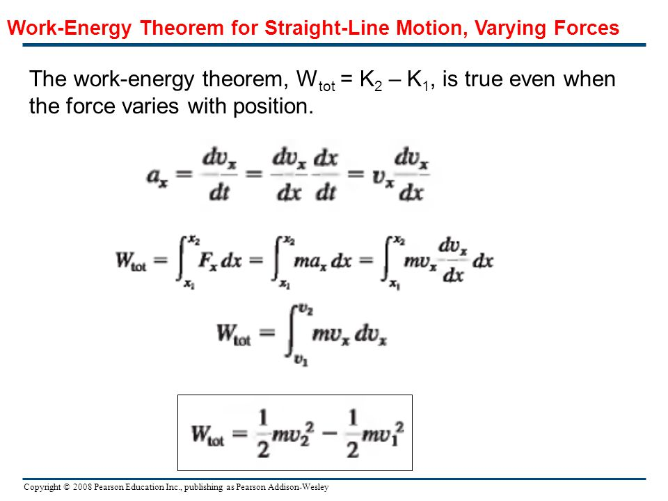 Work-Energy Theorem for Straight-Line Motion, Varying Forces