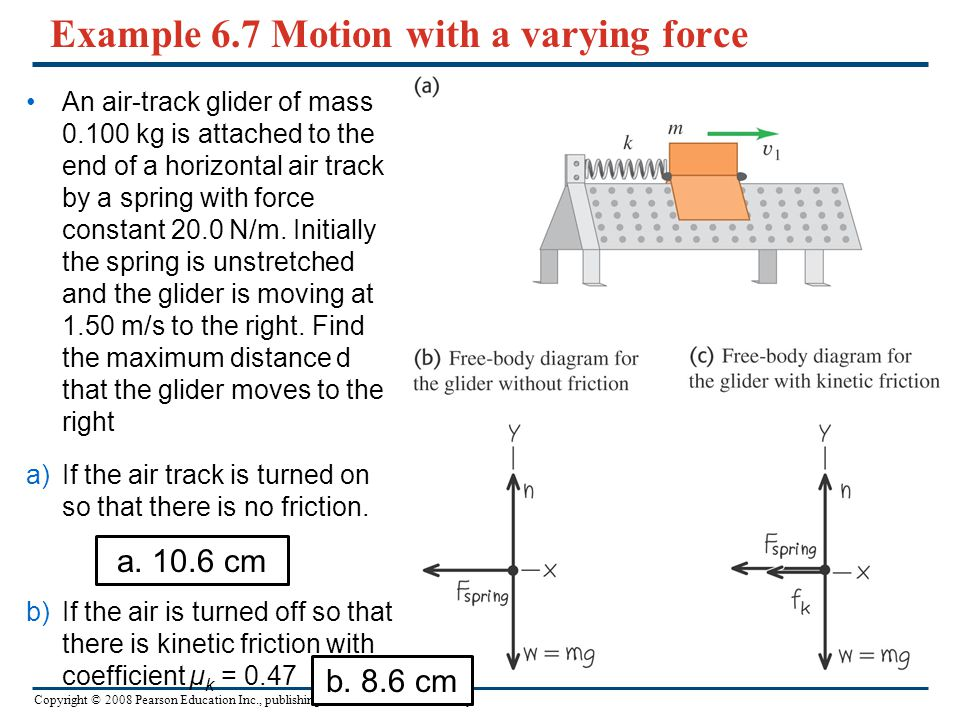 Example 6.7 Motion with a varying force