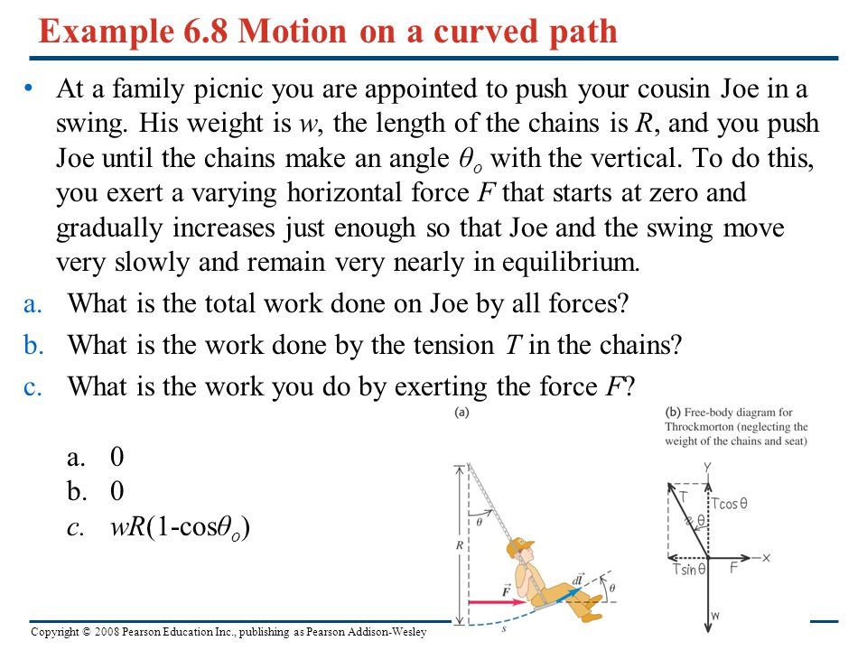 Example 6.8 Motion on a curved path