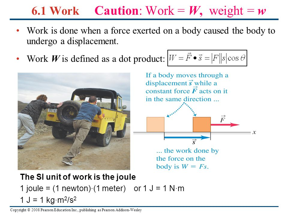 6.1 Work Caution: Work = W, weight = w
