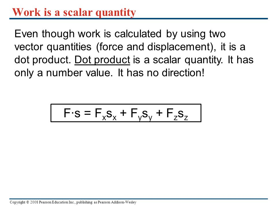 Work is a scalar quantity