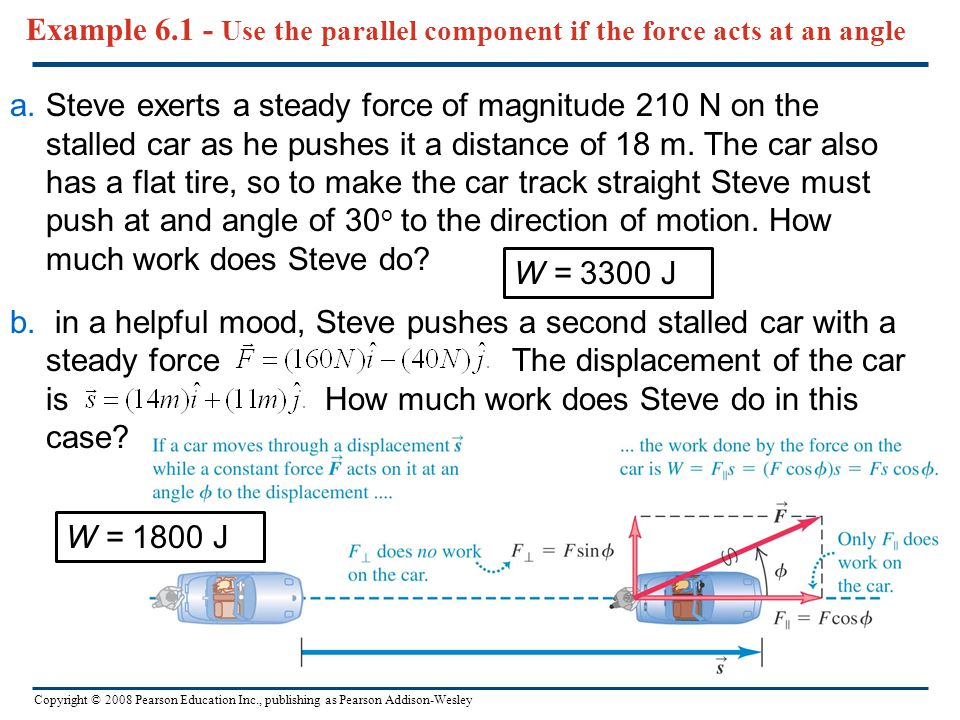 Example 6.1 - Use the parallel component if the force acts at an angle