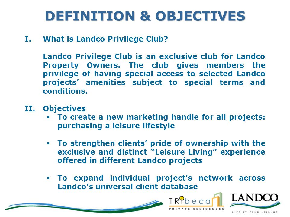 DEFINITION & OBJECTIVES