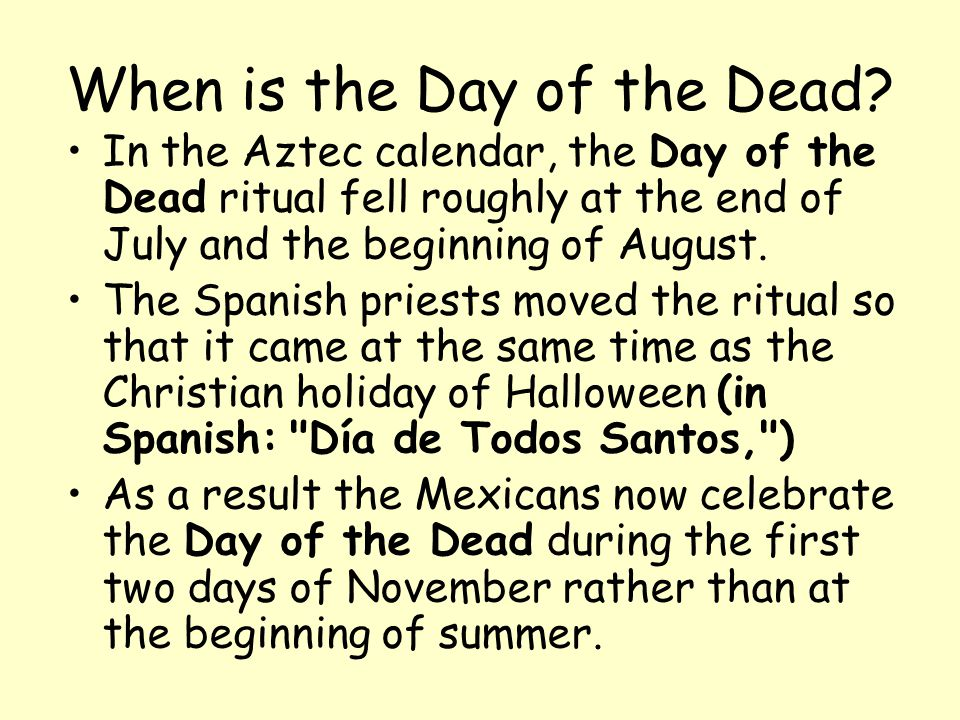 When is the Day of the Dead