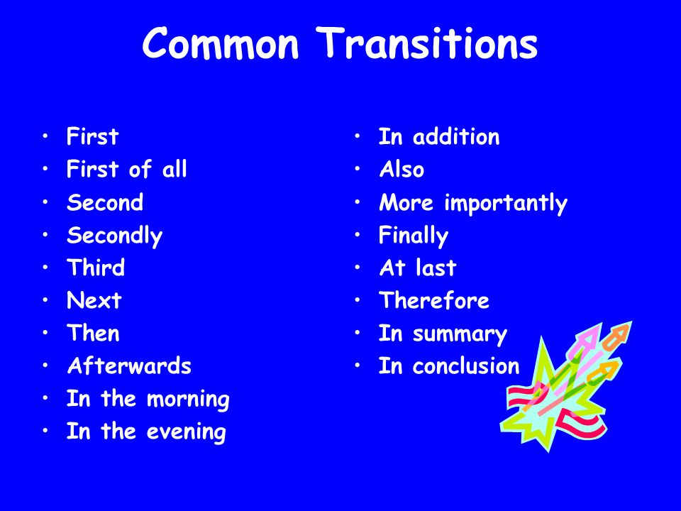Common Transitions First First of all Second Secondly Third Next Then