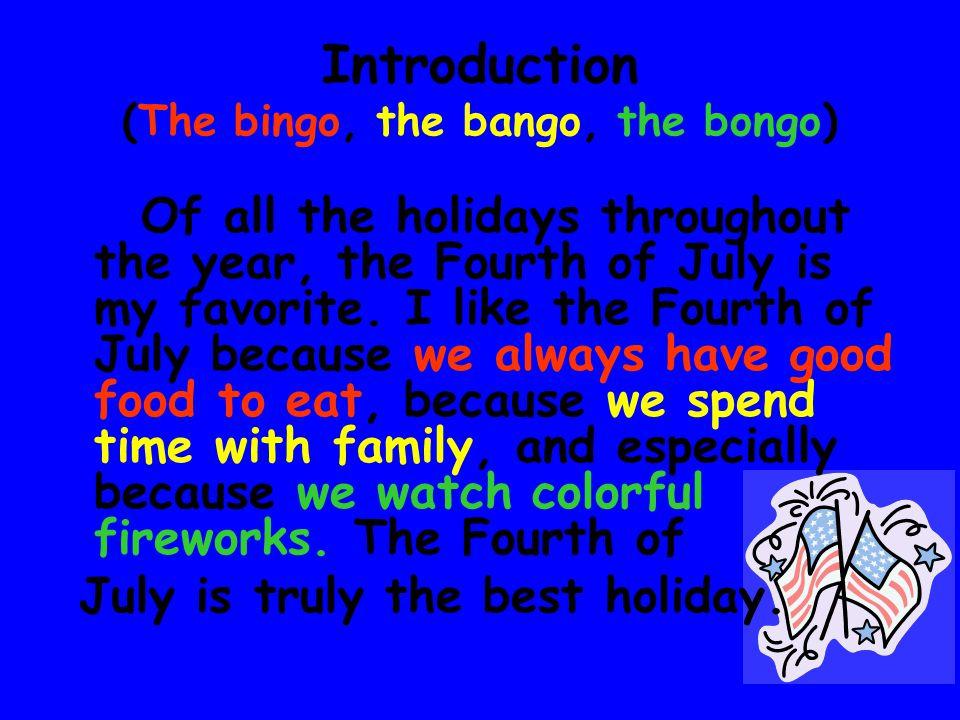 Introduction (The bingo, the bango, the bongo)