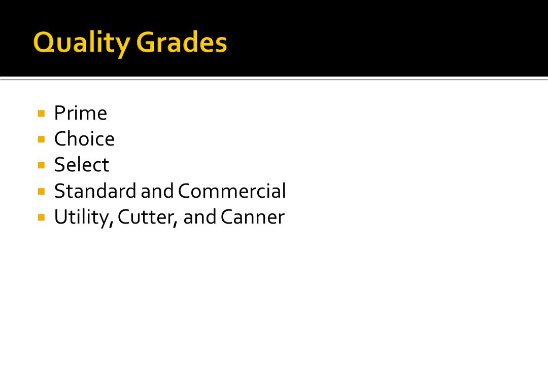 Quality Grades Prime Choice Select Standard and Commercial