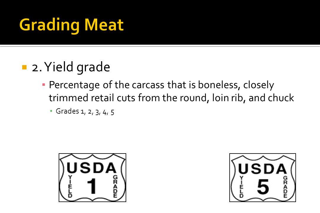 Grading Meat 2. Yield grade