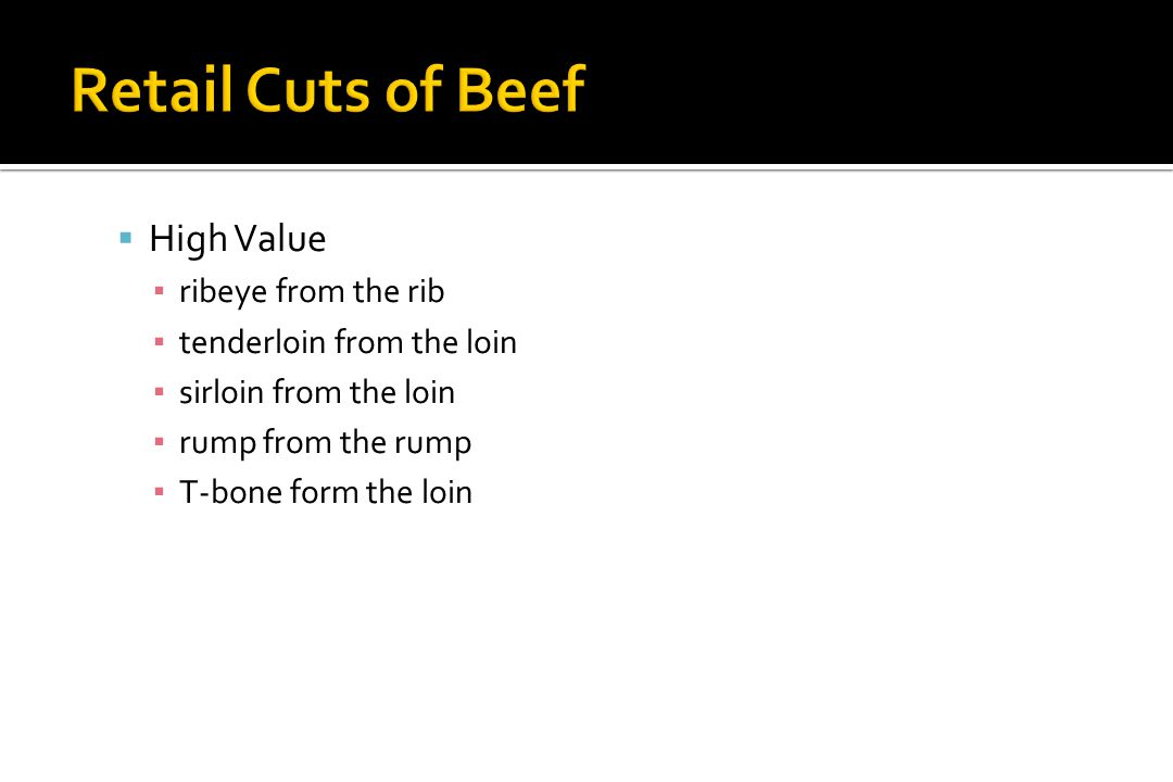 Retail Cuts of Beef High Value ribeye from the rib