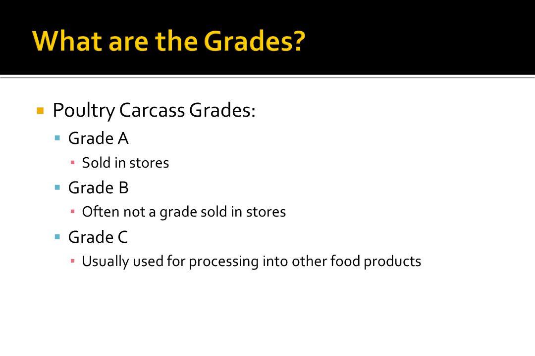 What are the Grades Poultry Carcass Grades: Grade A Grade B Grade C