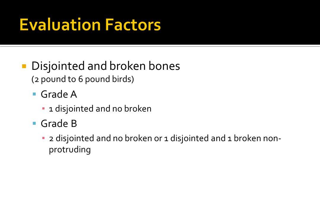 Evaluation Factors Disjointed and broken bones Grade A Grade B