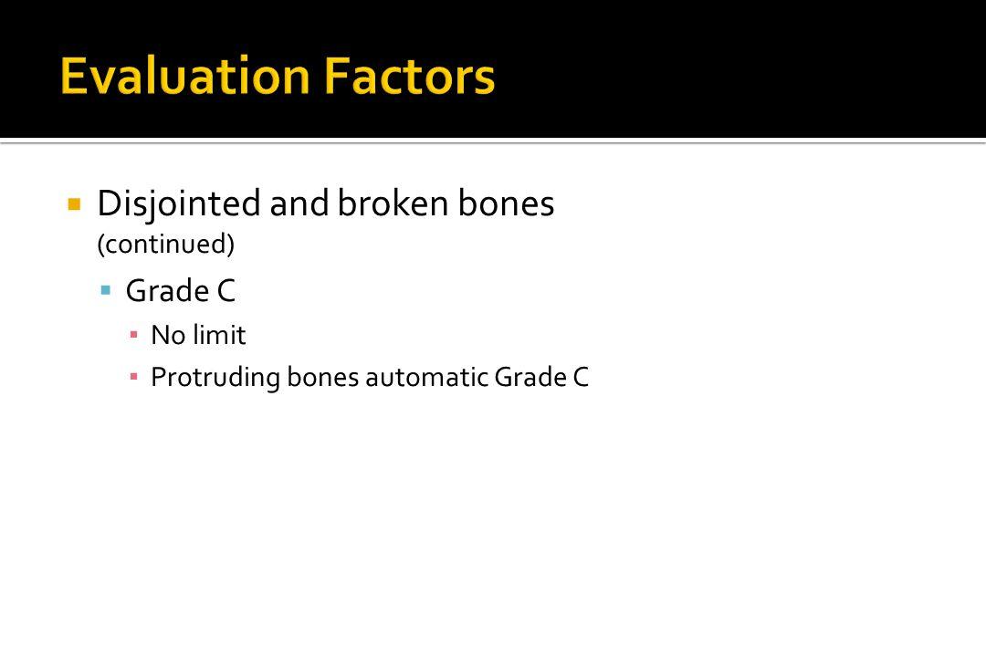 Evaluation Factors Disjointed and broken bones Grade C (continued)