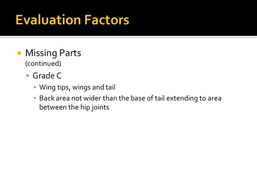 Evaluation Factors Missing Parts Grade C (continued)