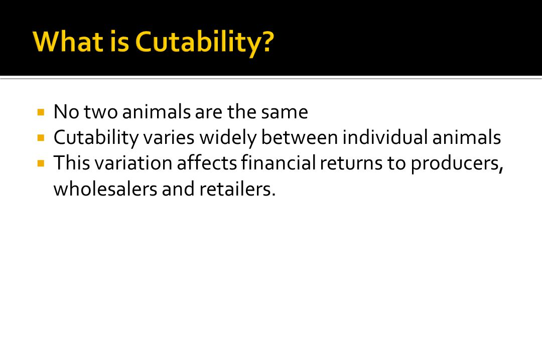 What is Cutability No two animals are the same