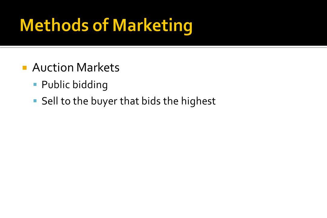Methods of Marketing Auction Markets Public bidding