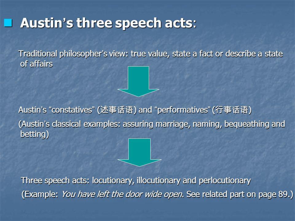 Austin's three speech acts: