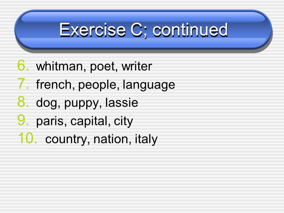Exercise C; continued whitman, poet, writer french, people, language