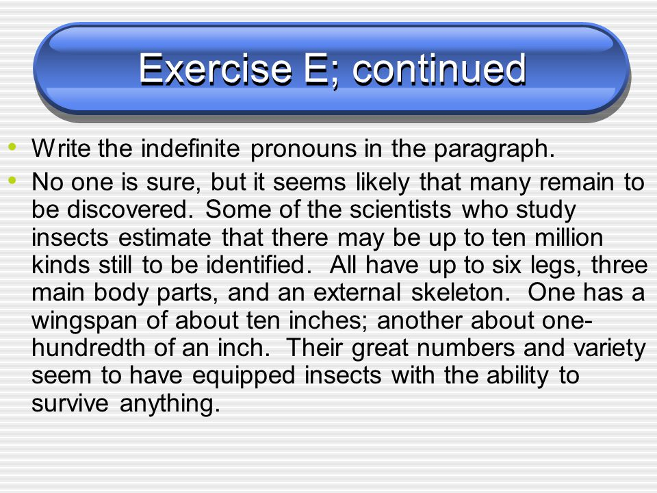 Exercise E; continued Write the indefinite pronouns in the paragraph.