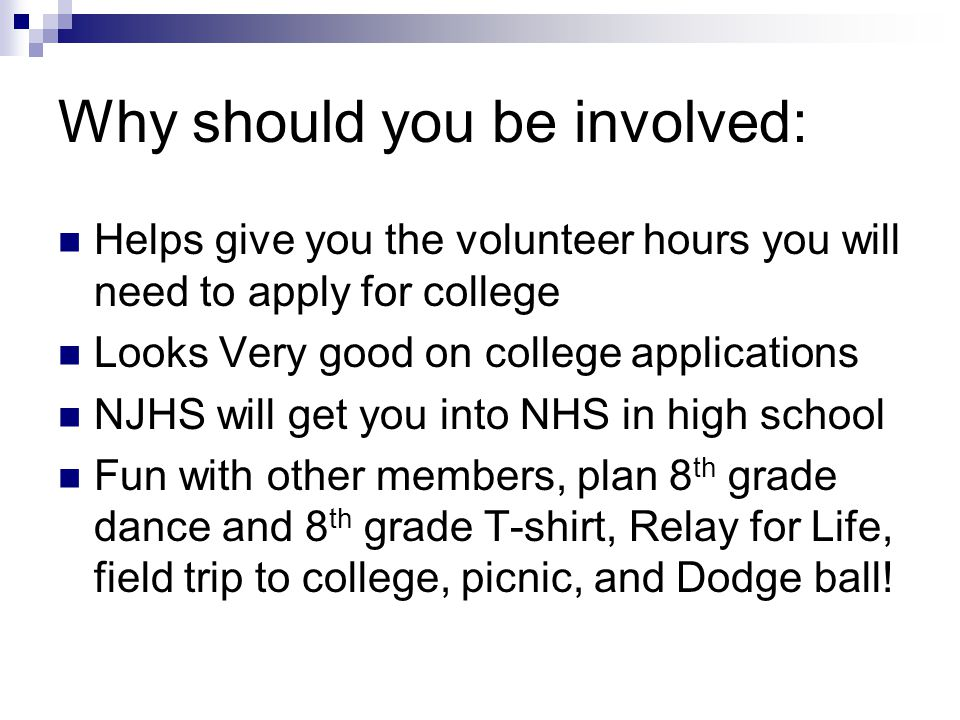 Why should you be involved: