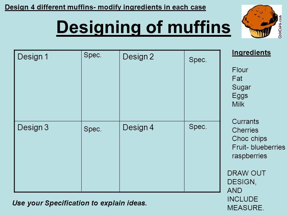 Designing of muffins Design 1 Design 2 Design 3 Design 4
